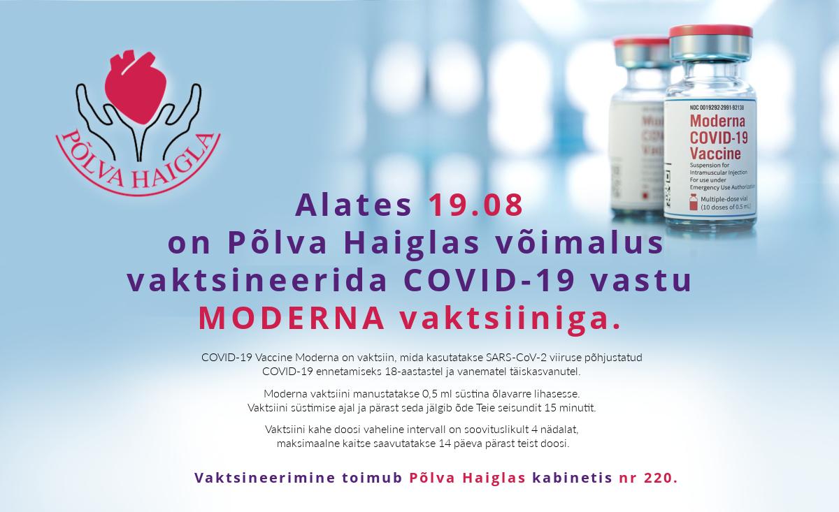 Võimalus vaktsineerida COVID-19 vastu MODERNA vaktsiiniga