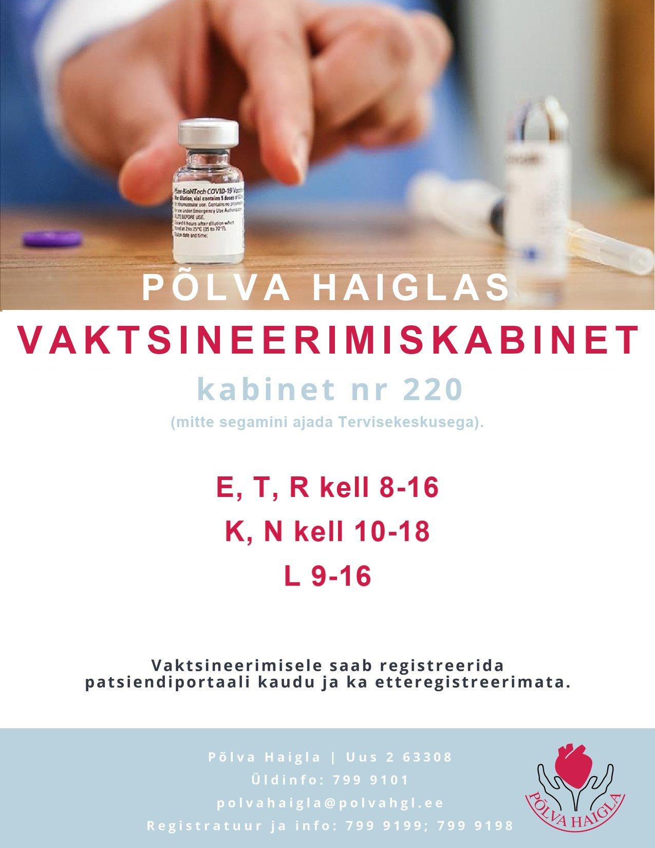 Põlva haigla vaktsineerimiskabineti lahtiolekuajad